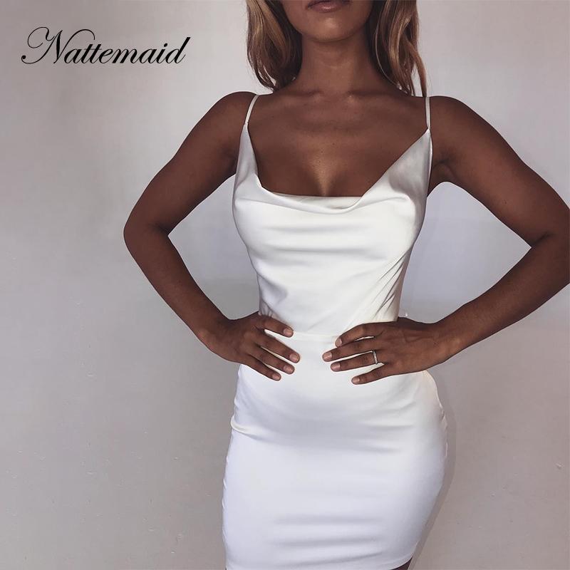 NATTEMAID Backless trägerlose Satin-Bodycon Kleider Frauen Miniclubwear Zip-Verband-Kleid Summer Club Sexy weißes Kleid Vestidos