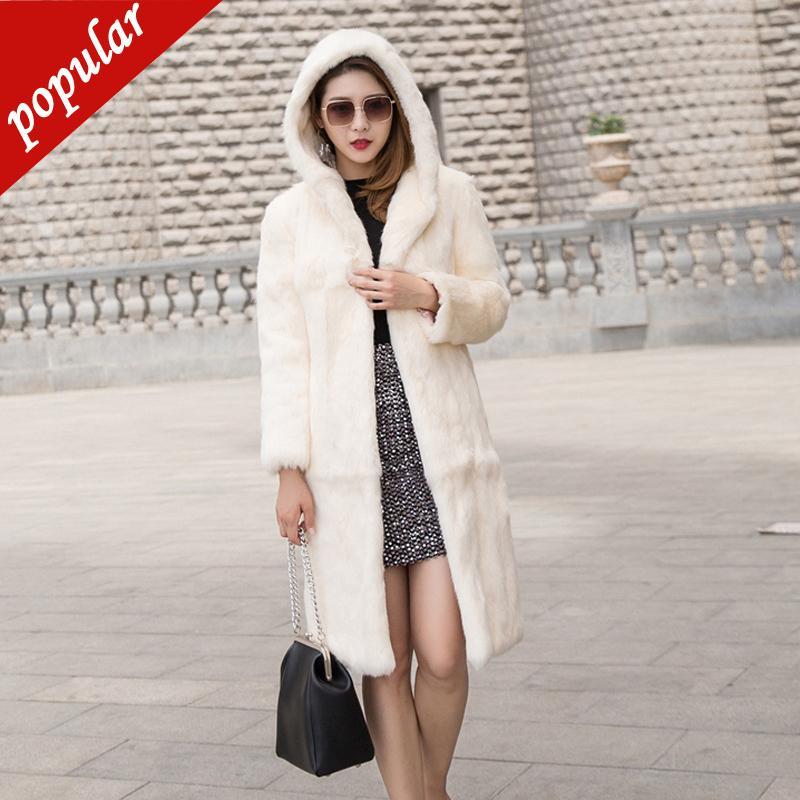 Neue Winter-Art und Weise lange mit Kapuze Kaninchen-Pelz-Mantel Weibliche realer Pelz-Oberbekleidung-Jacken Mäntel Plus Size 3xl 4xl 5xl 6xl