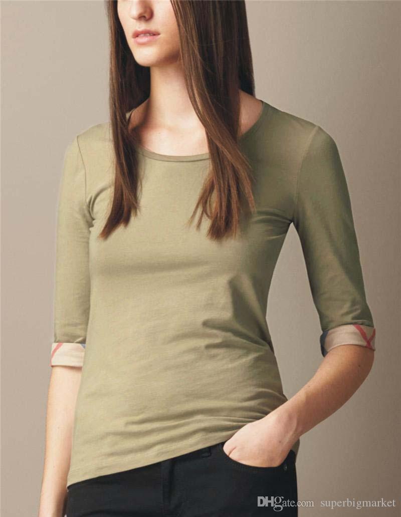 nouvelle conception 2019 nouveau coton à manches demi-o-cou t-shirt mode marque dames à carreaux de haute qualité T-shirt noir blanc rose S-XXL
