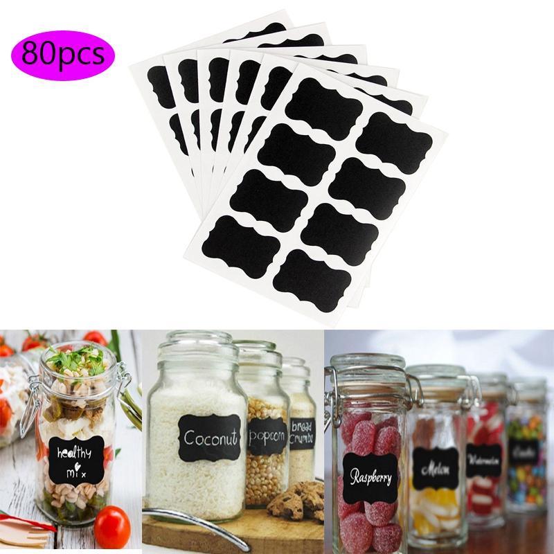 80pcs 5x3cm Conveniente vidro preto Tag Sticker mensagem Blackboard Papel de Cozinha Spice adesivos garrafa Jar Etiquetas Home Bar Decor