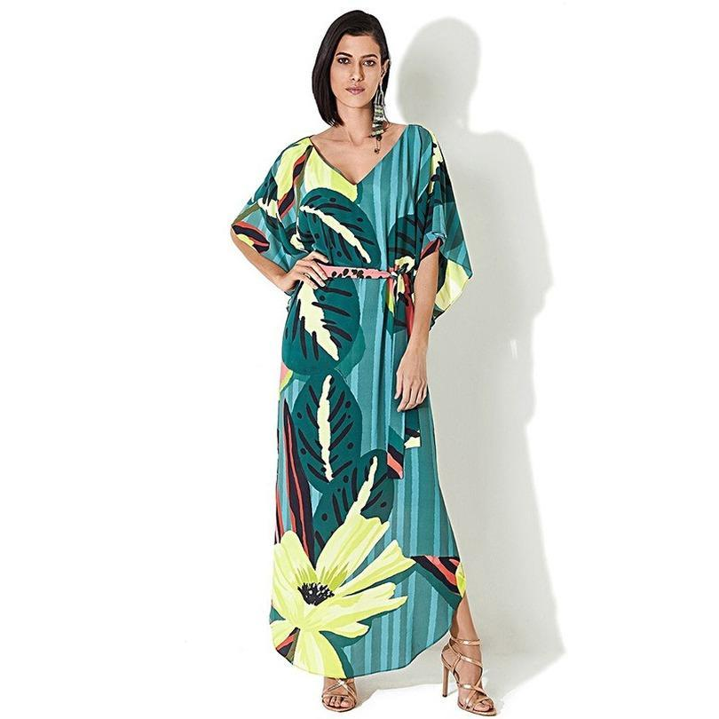 Mulheres Beachwear Kaftan capa-ups Beach Dress Chiffon Túnica Swim Wear Cover Up Robe de plageWomen Beachwear Kaftan
