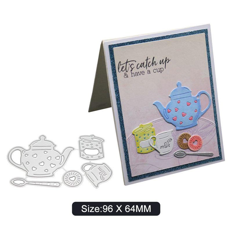 3D Tea Cup Frame Crafts Metal Cutting Die DIY Paper Album Cards Embossing Decor