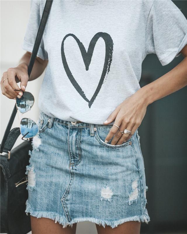 Tees Herz-Liebe-Druck-Frau-T-Shirt Designer Sommer-Kurzschluss-Hülsen-Magliette loses Tuch Art und Weise beiläufige Donna
