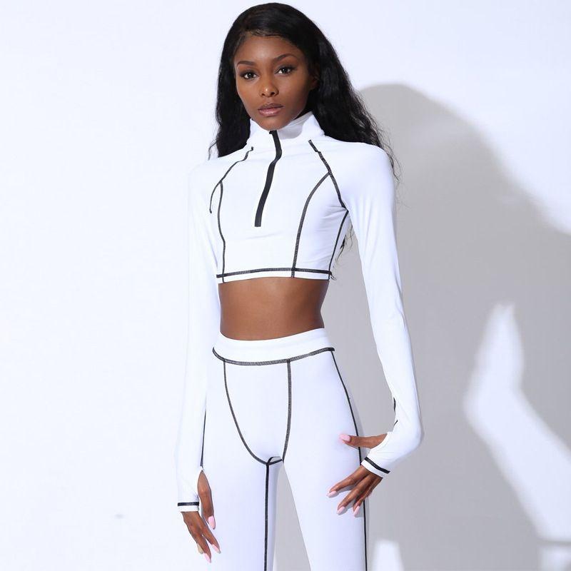 2020 Tracksuit Women Fashion Stripe 2 Piece Set Zipper Crop Top & Elastic Legging Female Sportwear Fitness Jogging dresy damskie