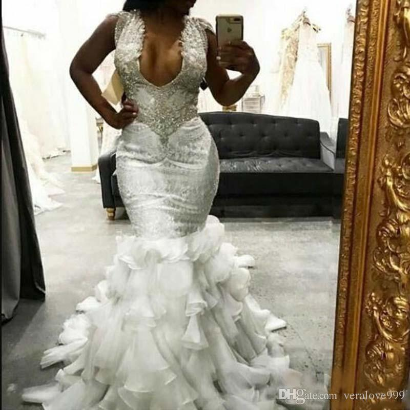 Luxury Beaded Wedding Dresses Cap Sleeves Mermaid Bridal Gowns Ruffles Organza Skirts 2019 New Wedding Dress