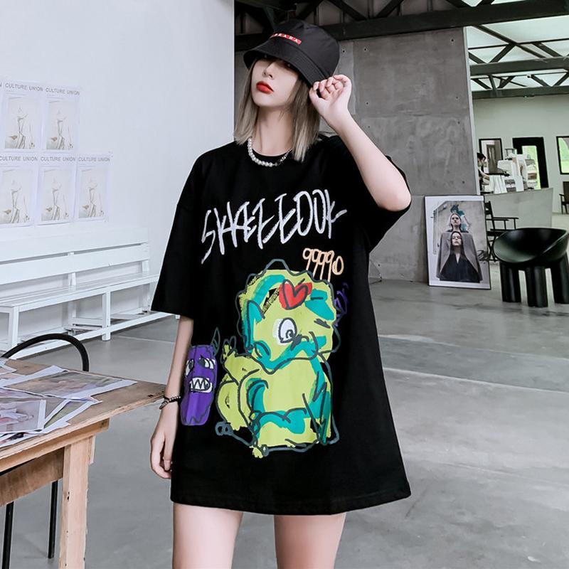 Casais original Popular Marca Resumo dos desenhos animados de impressão Graffiti de manga curta T-shirt Homens e Mulheres BF Vento Nacional Moda Hip Hop Metade