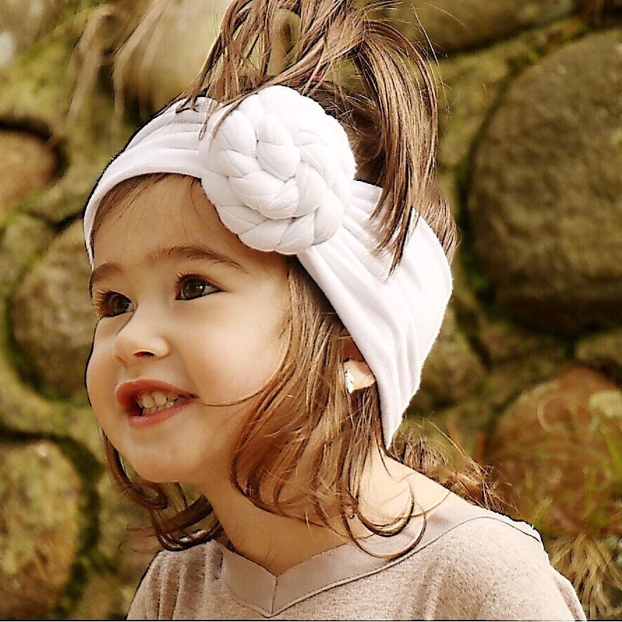 Çocuk Saçın iins bebek düğümlü saç bandı sevimli bebek pamuk şapkaya saç aksesuarları