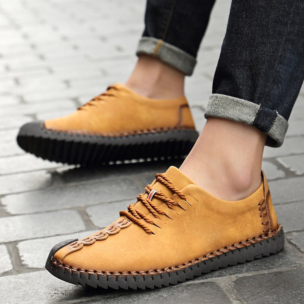 KANCOOLD Chaussures en cuir Casual caoutchouc respirant à lacets Chaussures pour hommes en plein air hommes occasionnels chaussures non-Slip résistant à l'usure