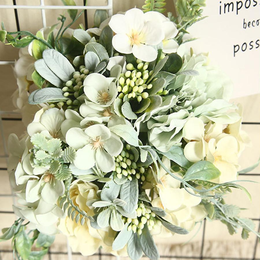 Fleurs artificielles hortensia soie Bouquet pour la décoration Camellia artificielle Pivoine Rose mariage Accueil bricolage Décor Faux fleur blanche