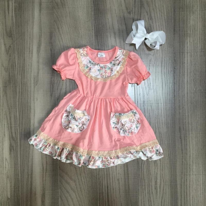 весна лето ребёнки молоко шелк хлопок коралла флористического платья с коротким рукавом детская одежда бутик матч лук ДЕТИ
