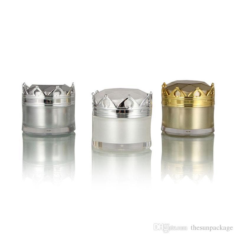 5G 10G Kosmetische Creme Flasche Glas Luxus leeren Kosmetikbehälter mit Kronenkappe Weißgold Silber