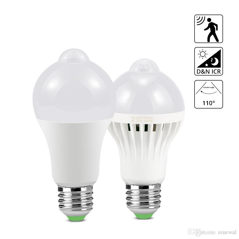 DHL Motion Sensor Light E27 5W 7W 9W 12W 18W Auto On / Off Lampadina LED per scale Balcone Lampada da notte Luci di emergenza di sicurezza