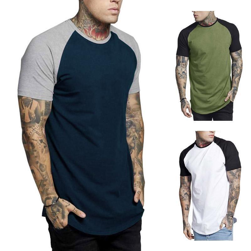 Camisetas de manga corta de verano para hombre con cuello redondo de las tapas delgadas para hombre ropa de moda para hombre con paneles de color