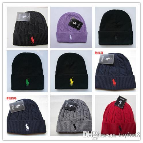 Cheap 2018 Fashion Unisex Spring Winter Hats for Men women Knitted Beanie Wool Hat Man Knit Bonnet Polo Beanie Gorros touca Thicken Warm Cap