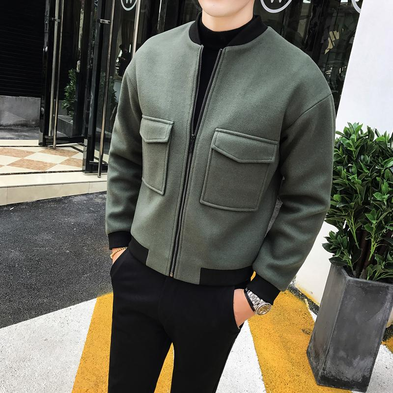 Woolen Jacket British Style Autumn Winter Men's Fine Wool Jacket Men's Fashion Stereo Sticker Baseball Collar Casual