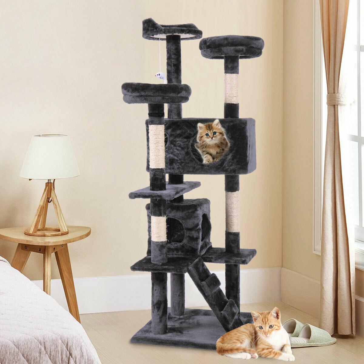 2021 60 Cat Tree Tower Condo Furniture Scratching Post Pet Kitty Play House Black From Ls12191744 51 85 Dhgate Com