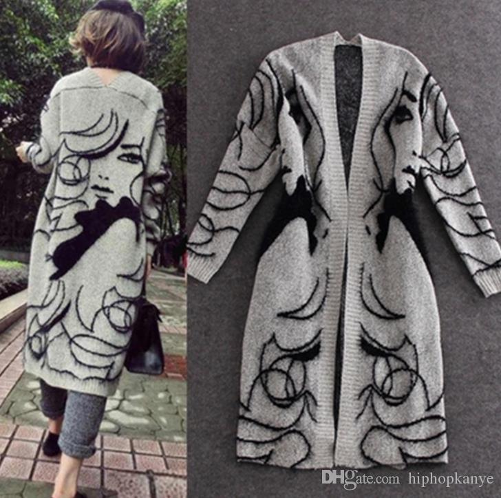 Las mujeres suéter grueso rebecas Otoño Gris Moda Pretty Girl larga impresa Coats Cabo