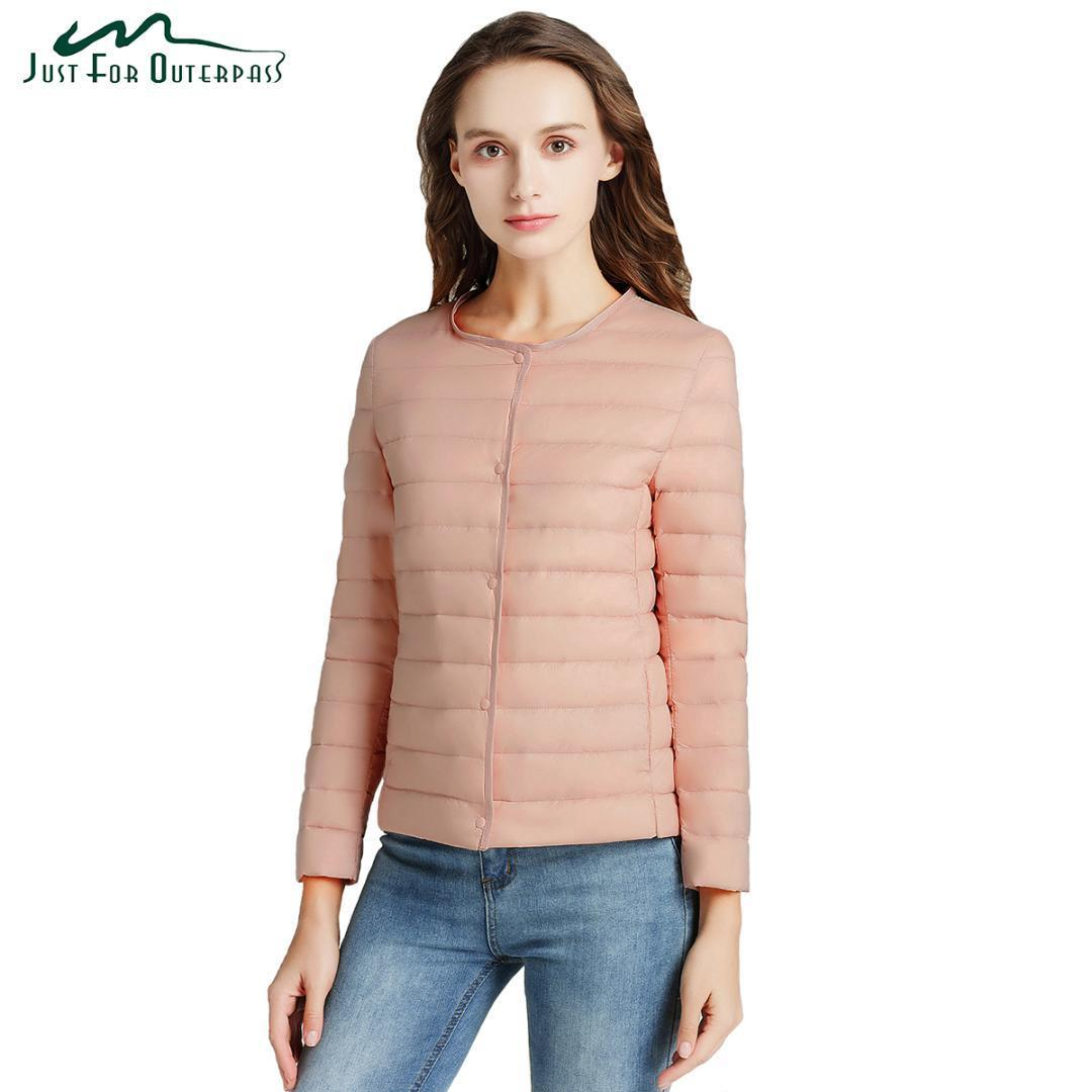 2019 новых женщин Ultra Light вниз Компактная куртка Женщины Весна Осень Parka с длинным рукавом Легкий белый утка вниз пальто плюс размер