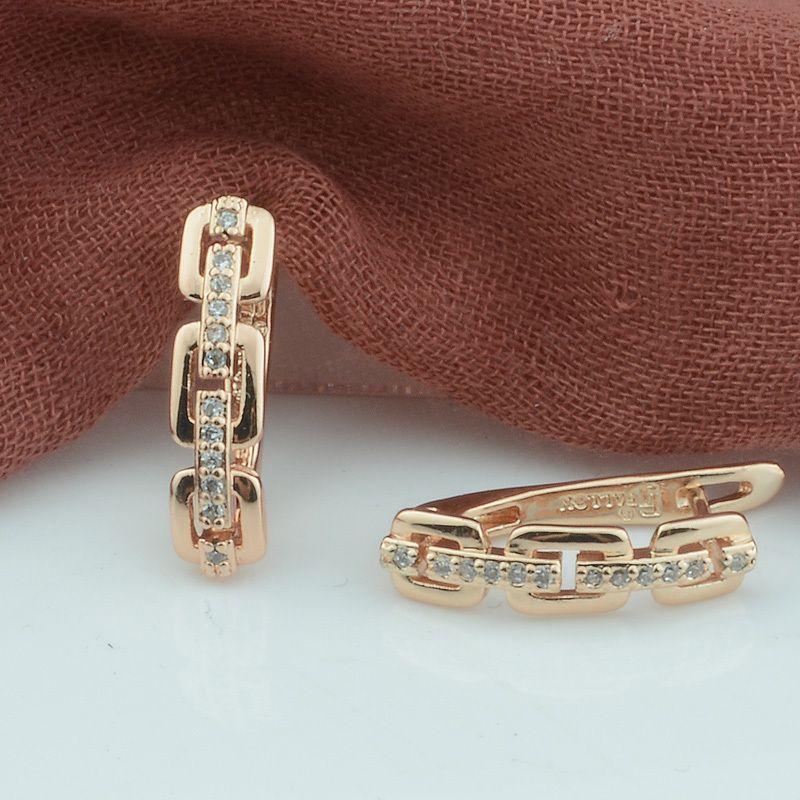 FJ Kadınlar Kare Dangle Küpe 585 Rose Gold Renk Kristal Küpe