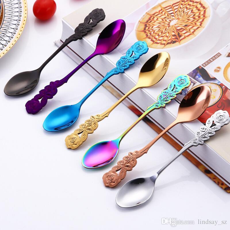 Nuova 304 in acciaio inossidabile Rose cucchiaio di caffè di agitazione Cucchiaino manico lungo Tea Spoon dessert cucchiaio da tavola Cucina Dropship LX8756