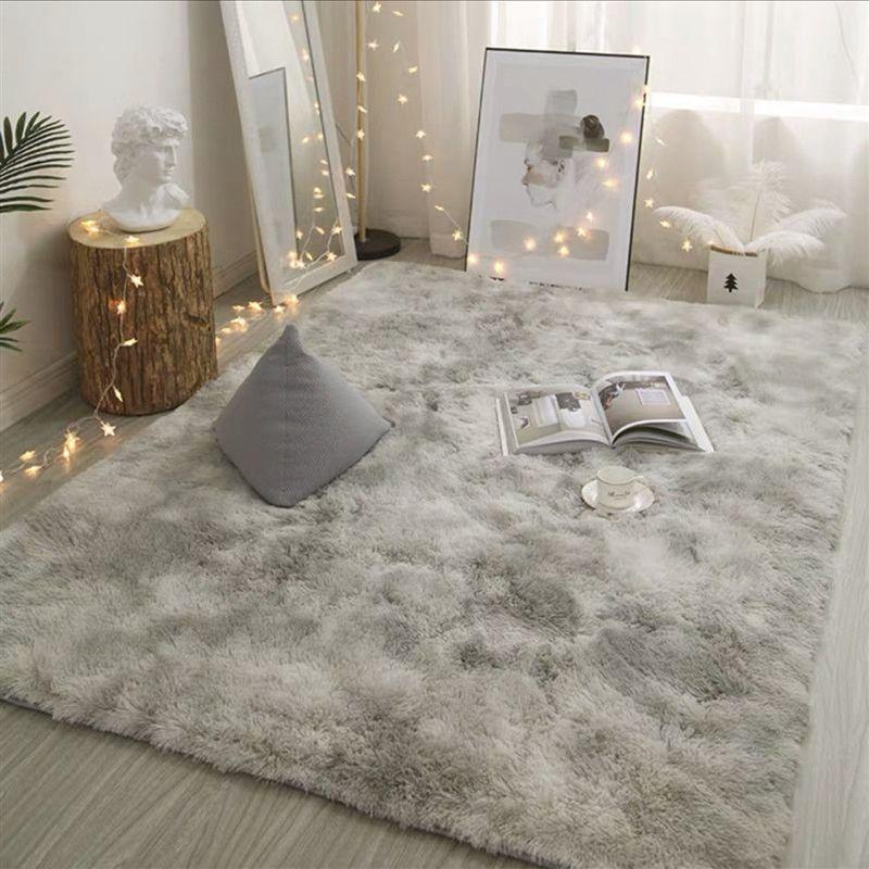 FBC19011003 Modern Nordic Style Grey Carpet Plush Soft Carpet For Living Room Tie Dyeing Anti-slip Floor Mats Carpet Rugs