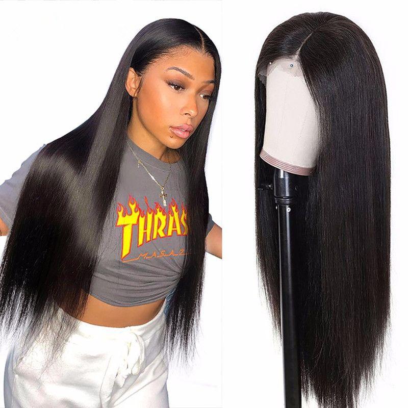 Siyah Kadınlar için Brezilyalı Siyah Uzun İpeksi Düz Tam Peruk İnsan Saç Isıya Dayanıklı Tutkalsız Sentetik Dantel Açık Peruk