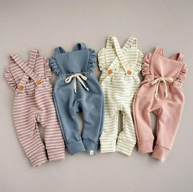 Newborn Stripe Rompers Kids Backless Newborn Overalls Ruffle Pure Color Children Playsuits Candy Color Baby Clothing WY230Q-1