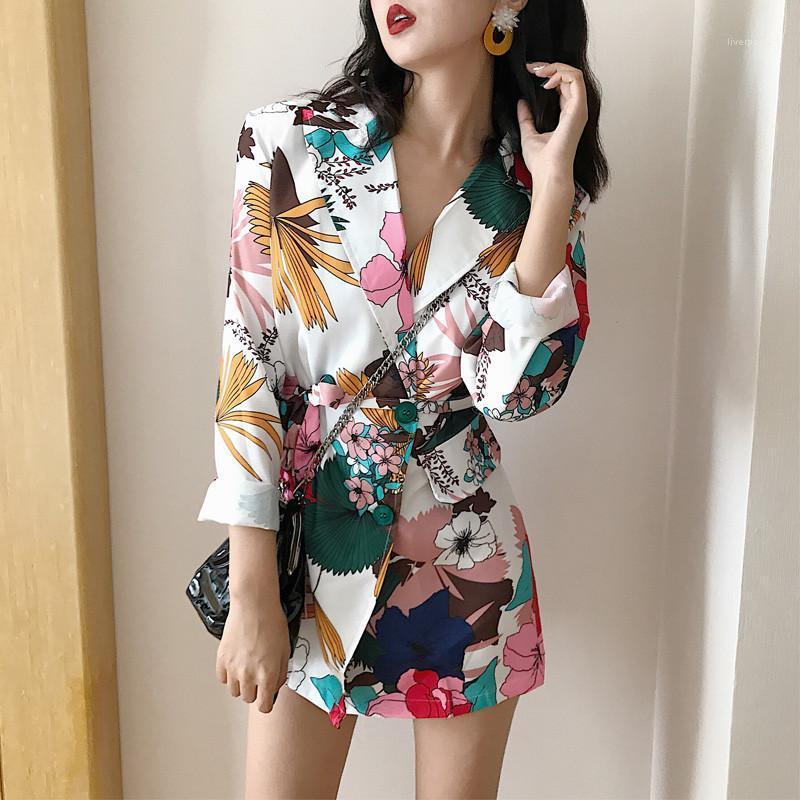 Moda Blazers İlkbahar Sonbahar Tasarımcısı Yaka Kadın Coat Rahat Panelli Bayan Giyim Sashes Kadın Çiçek Baskılı
