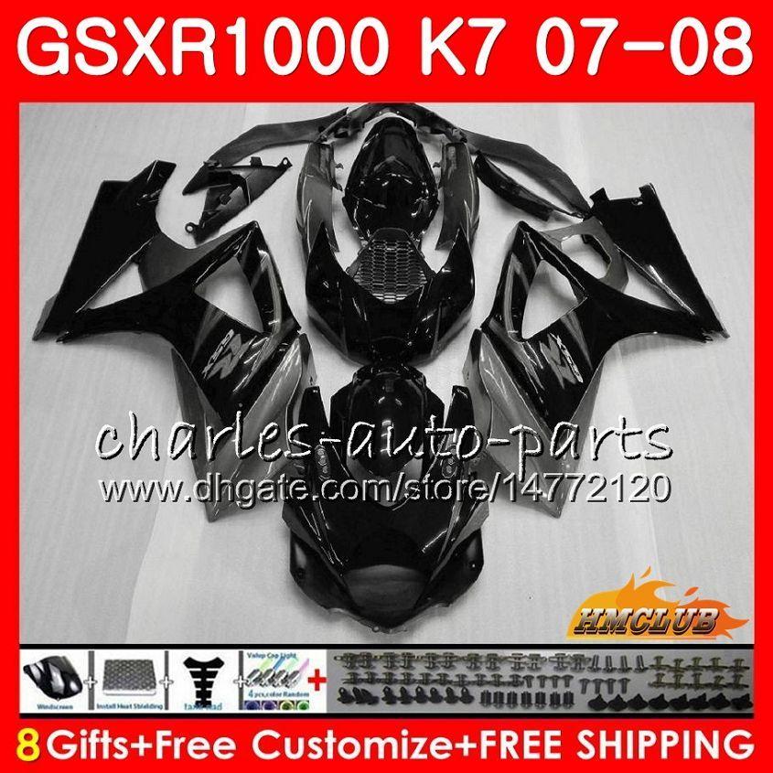 Kroppsgrå Svart lager för Suzuki GSXR-1000 GSX-R1000 GSXR1000 07 08 Bodywork 12HC.23 GSX R1000 07 08 K7 GSXR 1000 2007 2008 Full Fairing Kit
