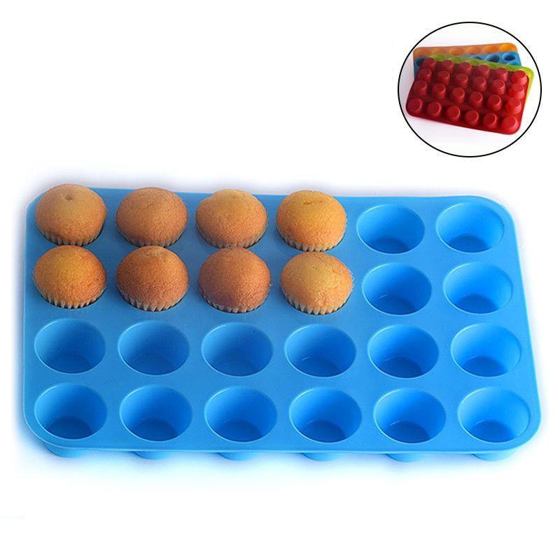 24 Delik Muffin Kupası Kalıp Silikon Kek Kurabiye Jelly Bisküvi Pişirme Tepsi Kek Kupası Pişirme Kalıp Karışık Renkli Gönder