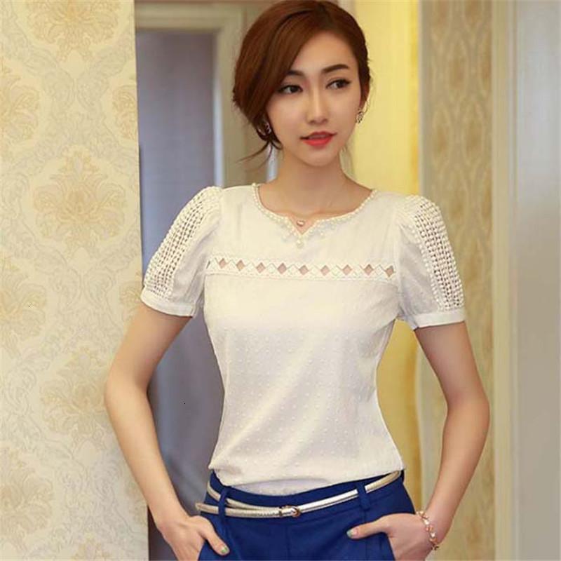 Blusas de las mujeres tapas de las mujeres de moda Lady verano mujeres de la blusa de encaje sólido de manga corta blusa de la muñeca atractivas ahuecan hacia fuera blusa de la gasa de la muchacha