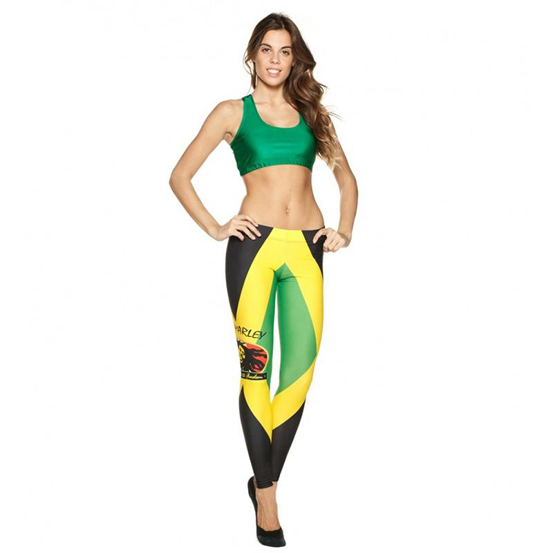 Jamaican Flag Womens Full-Length Sports Running Yoga Workout Leggings Pants Stretchable L