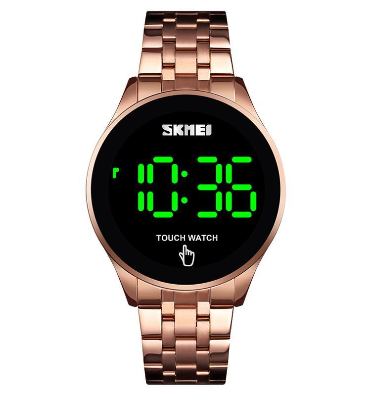 2019 SKMEI 1579 شاشة اللمس الجديدة تصميم LED الفولاذ المقاوم للصدأ ووتش الرقمية باند ساعات رجالية المعصم مع حالة
