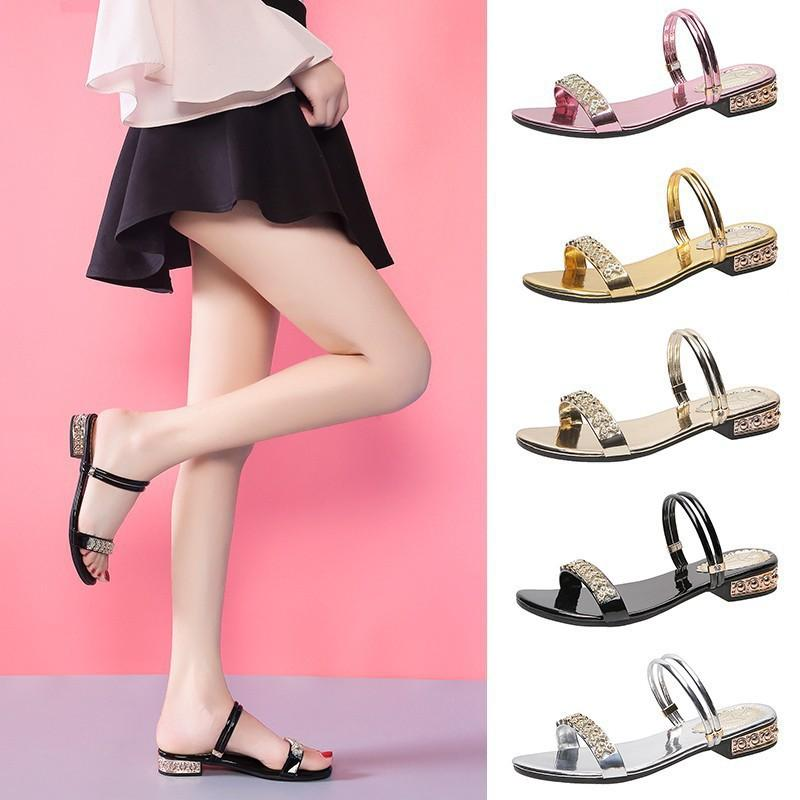 Una Scarpa Doppio Scopo L sandali femminili di nuovo modo di Fata vento semi-tacco alto strass Tempo libero pantofole