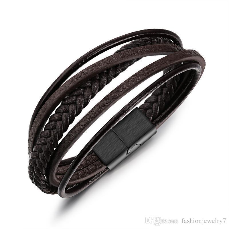 superior quality Snap Bracelets thin PU leather stainless steel Bangle man's bracelet fashion boy's gift presents