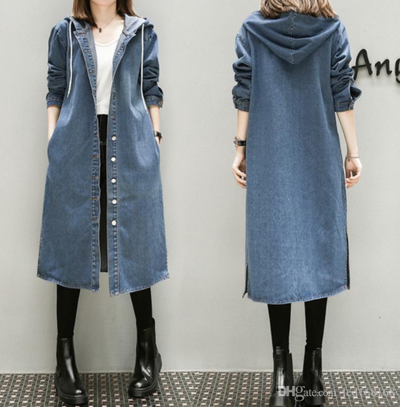 XL-5XL Artı Büyük Boy Denim Ceket Kadınlar İlkbahar Sonbahar Kış 2019 Feminina Moda Yeni İnce Gevşek Uzun Jean Hendek Kadın