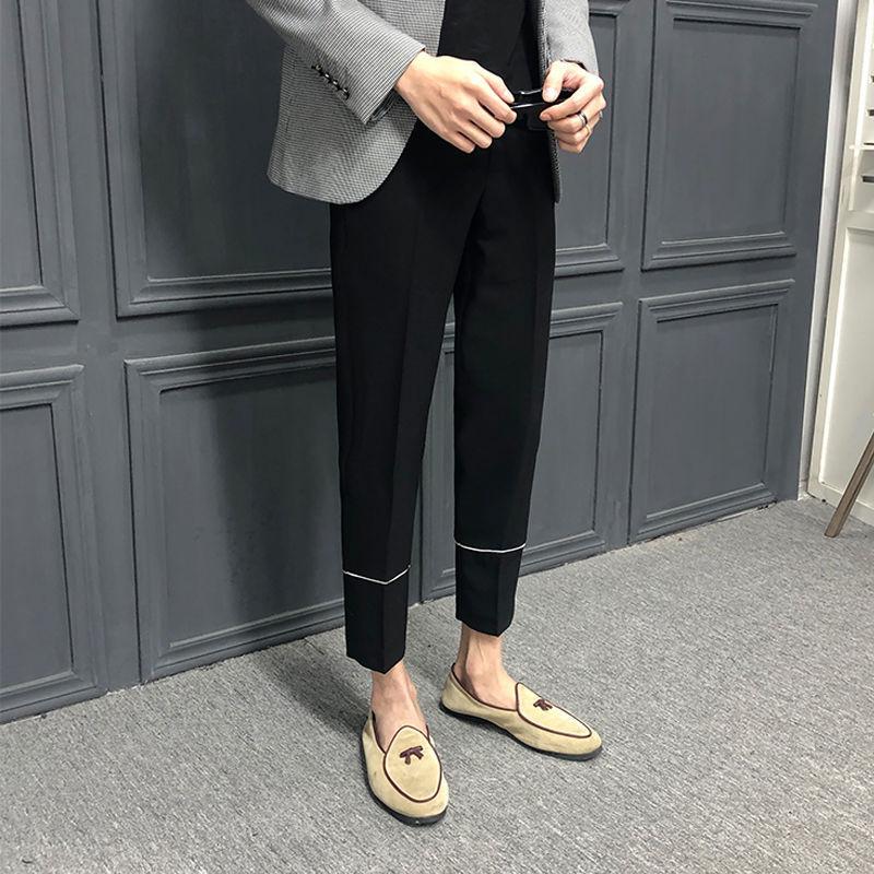 2020 printemps et en été la nouvelle jeunesse populaire britannique Slim hommes style Pantalons Solide Couleur Mode Pantalon neuf points Casual