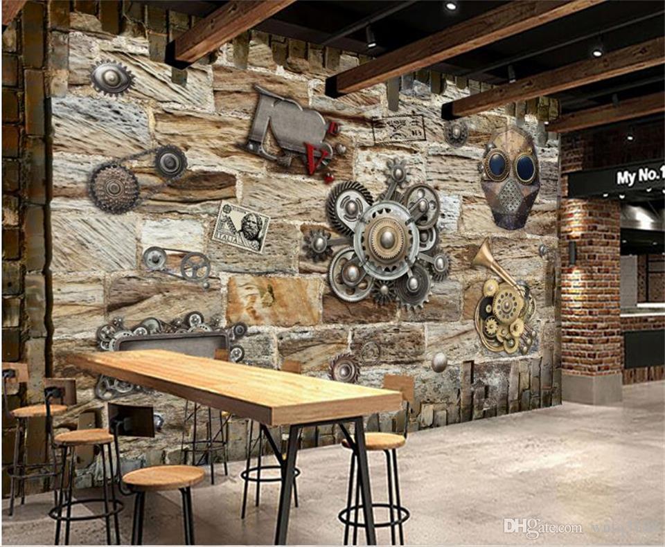 Özel Boyut 3D Fotoğraf Kağıdı Salon Duvar Retro Nostalji Dişli İzle 3d Resim Duvar Ev Dekor Yaratıcı Otel Çalışması Duvar Kağıdı 3D