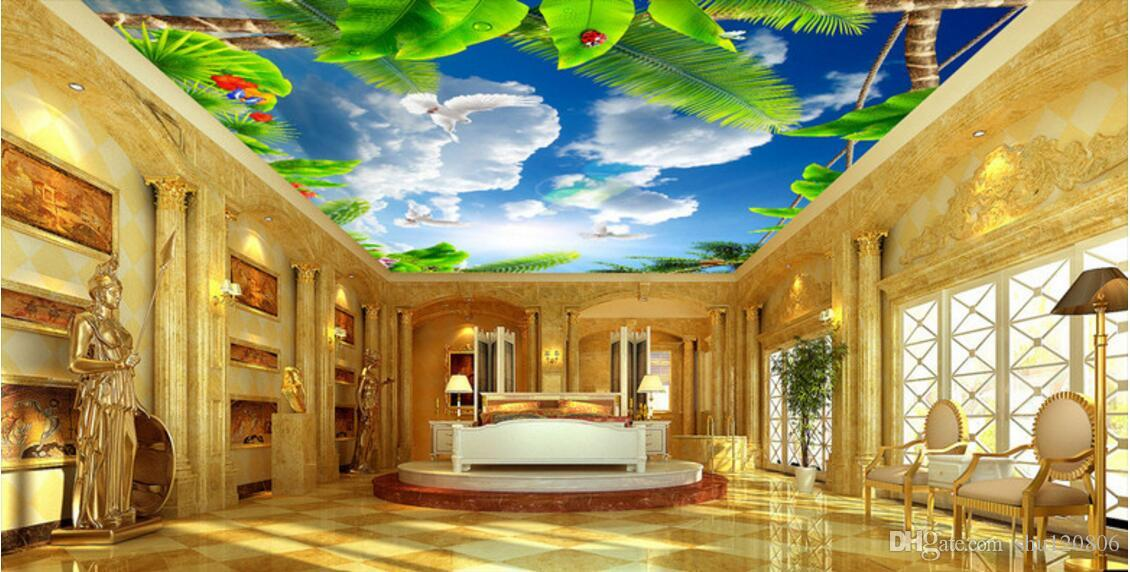 murais teto 3d papel de parede personalizado foto céu azul mural de nuvens brancas pombos Green room folha 3d murais de parede papel de parede para paredes 3 d