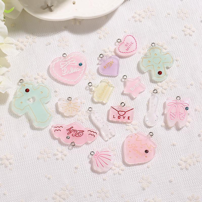 21pcs cuore carino luna schiena piatta resina collana orecchino incanta per la decorazione di DIY