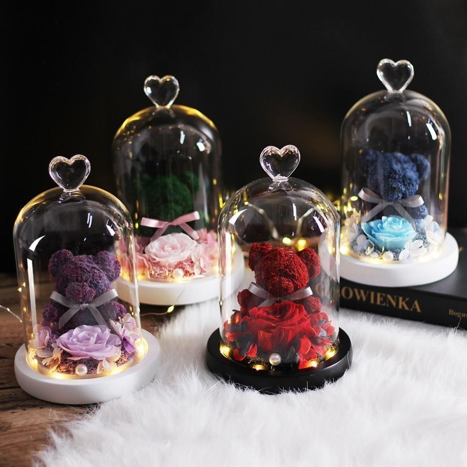 تيدي بير روز الزهور في زجاج قبة مهرجان عيد الميلاد DIY رخيصة الرئيسية مناسبات الزفاف عيد ميلاد هدايا عيد الحب