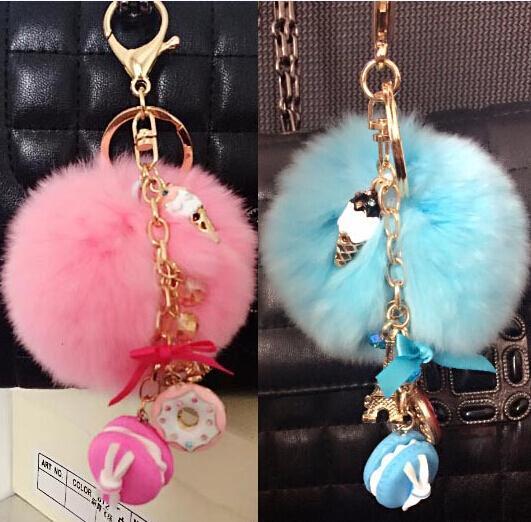 cadeia de dom Macarons Bolo Keychain Fur Pompon Pompom Key France Paris Ladurée Effiel Torre Macarons Ribbon Key anel encanto do saco