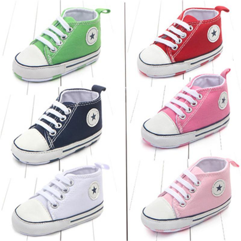 Mix Color Wholesale Canvas Classic Sports Sneakers Newborn Baby Boys Girls Infant Toddler Soft Sole Anti-slip First Walkers Shoes