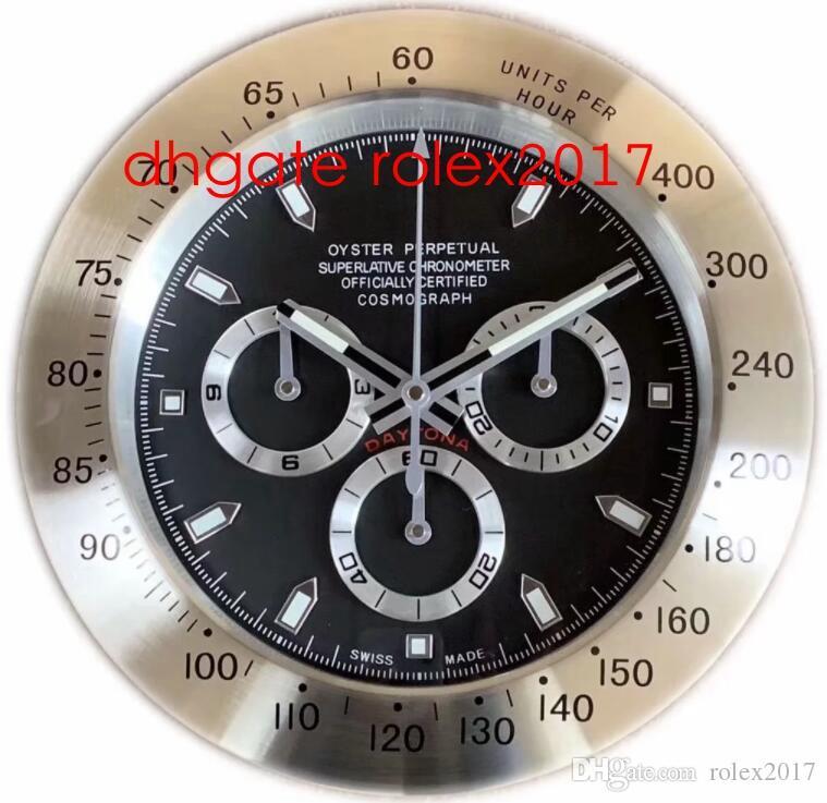 20 estilo reloj de pared de alta calidad Reloj de pared 34 cm x 5 cm 2 kg de acero inoxidable de acero de acero electrónico azul luminiscente cosmografía 116520 relojes reloj
