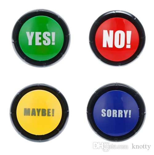 Yes No Sorry Maybe Button Gag Sound Button Toy Amusing Prank Event Party Tool Funny Trick Practical Jokes Toy for Children Kids