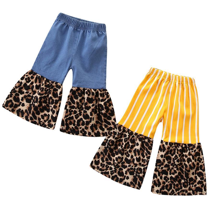 Девушки джинсы пэчворк леопард вспышки джинсы брюки дизайнерские брюки брюки джинс дети бутик одежда детская одежда RRA1950