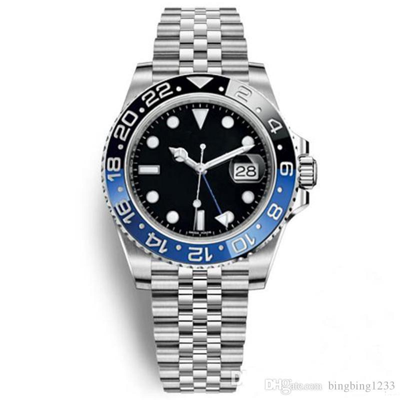 Горячие продажи качество мужчины автоматический механизм 116710 GMT Batman Керамический сапфировый циферблат Master 2 Jubilee браслет часы мужские часы Reloj