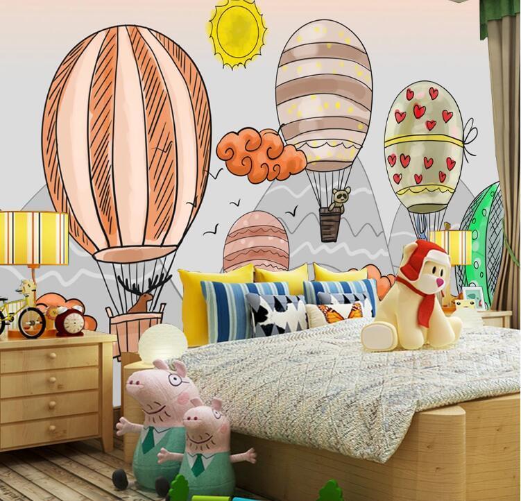 3d çocuk duvar kağıdı, modern minimalist arka plan duvar karikatür kız duvar sıcak hava balonu kağıdı özel duvar duvar kaplaması