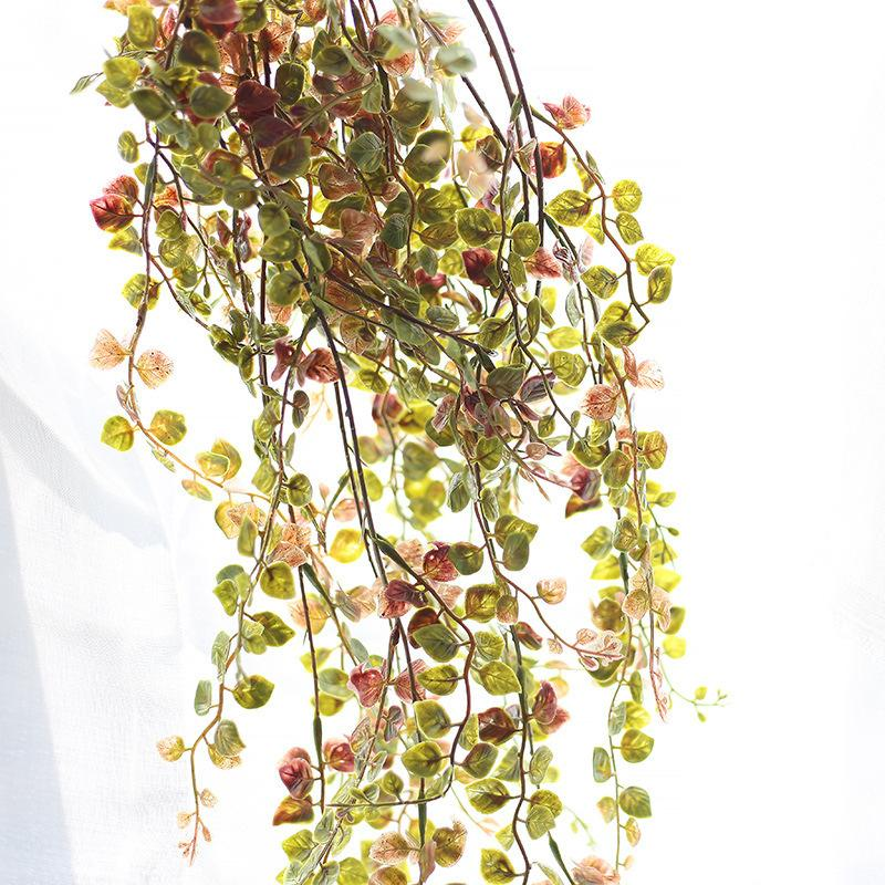 4pcs per lot simulation green plant vine plastic flower vine long leaves rattan home decor wedding decoration flower wall fake flower vine