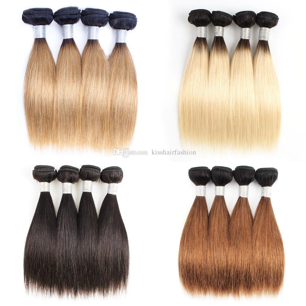 4 Bundles Indian Human Hair Weave Bundles 50g/pc Straight Dark Brown 1B 613 T 1b 27 Ombre Honey Blonde Short Bob Style